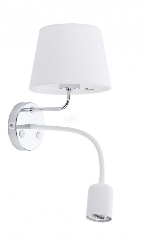 TK LIGHTING KINKIET MAJA WHITE BIAŁY / CHROM